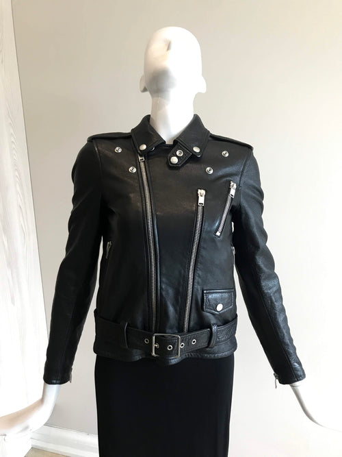 Black Leather Blood Luster 2017 Moto Jacket W/ SHW & Red Sequin Mouth Accent