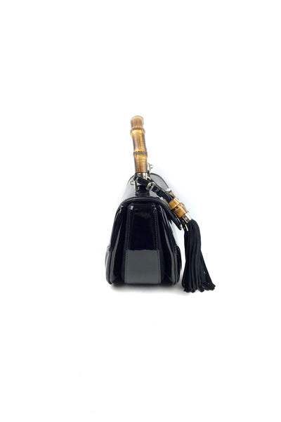 Black Patent Leather New Bamboo Top Handle Bag w/ Leather Shoulder Strap - Haute Classics