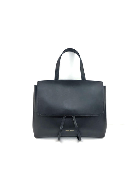 Black Smooth Leather Lady Flap Bag W/GHW