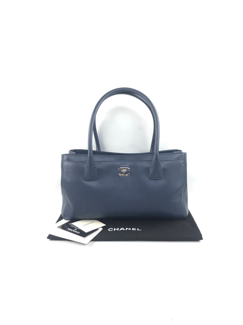 Light Blue Caviar Small Cerf Executive Tote W/SHW