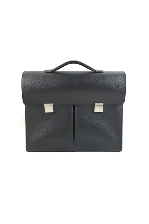 Black Taiga Leather Serviette Khazan Briefcase W/ SHW