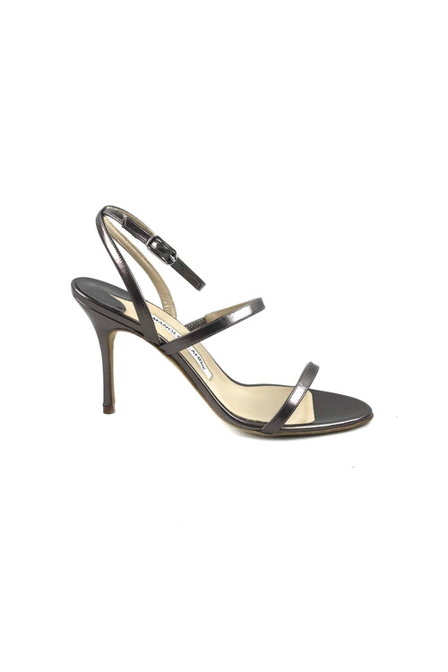 Metallic Pewter Leather Strappy Sandals