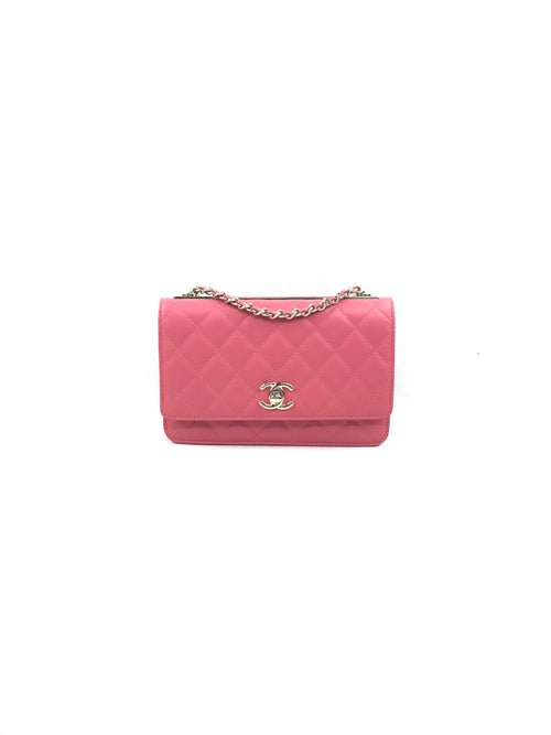 Watermelon Pink Trendy Quilted Flap Bag WOC W/GHW