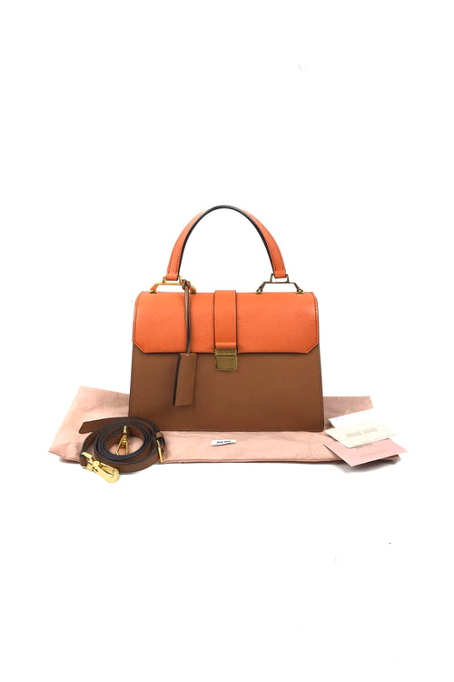 Papaya Grained Leather Miu Lady Madras Satchel W/ GHW