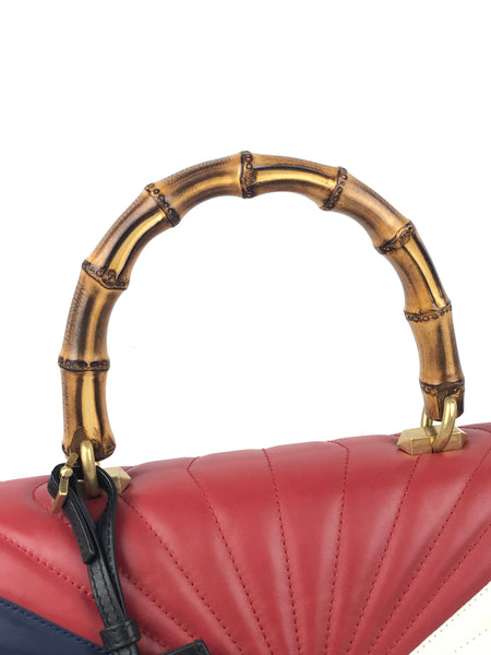 Queen Margaret Bee Matelasse Bamboo Top Handle Medium Bag W/GHW