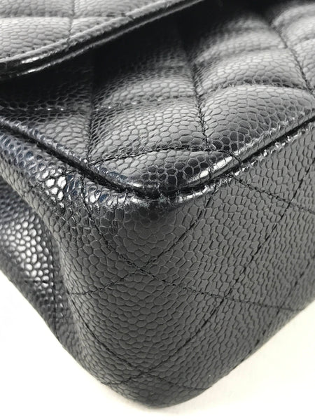 Black Caviar Double Flap Medium Classic Bag w/SHW