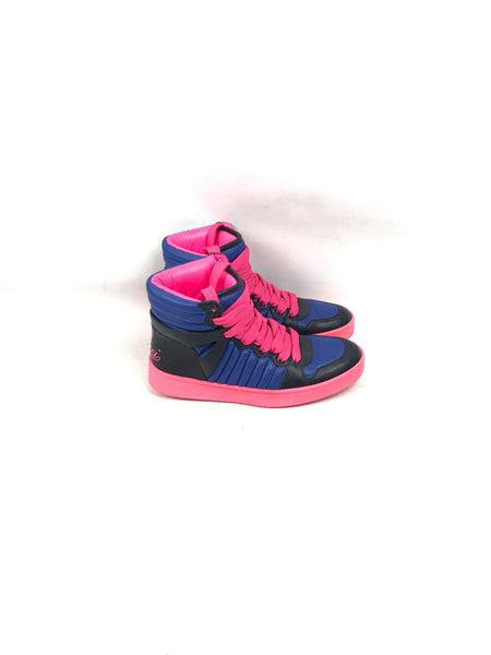 Hudson Neon Pink/Blue/Black Padded Nylon High-Top Sneakers