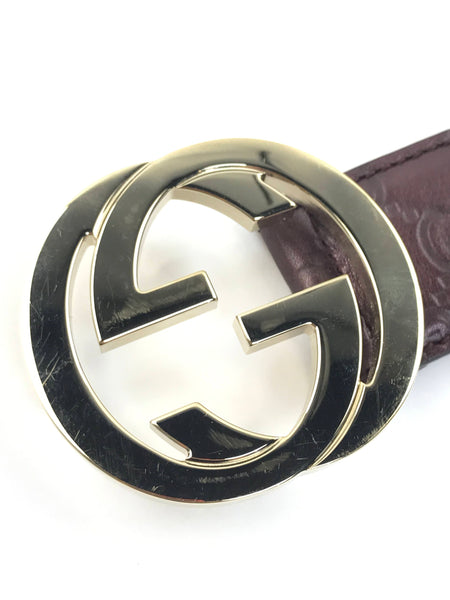 Metallic Purple GG Monogram Leather Belt W/LGHW