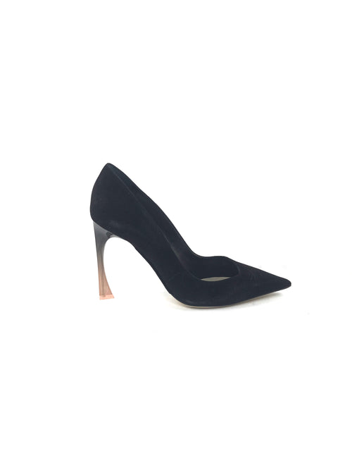 Black Pointed Toe Suede Acetate Heeled Pump