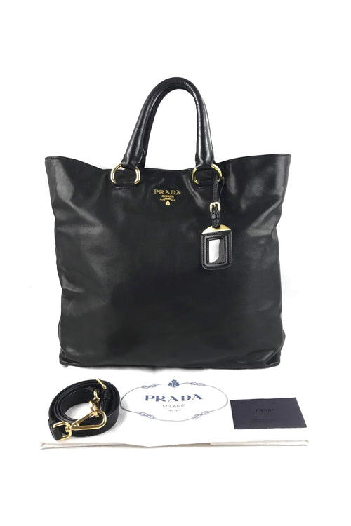 Black Soft Calf Leather Large Shopping Tote