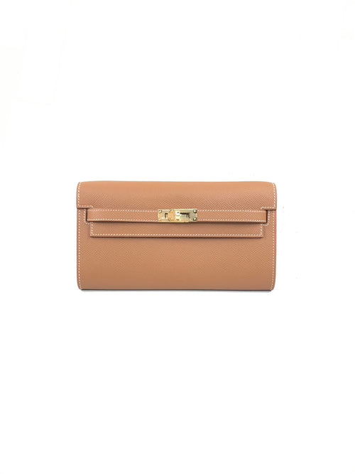 Gold Epsom Kelly To Go Wallet W/GHW