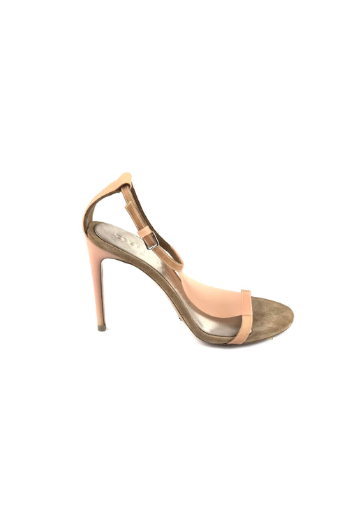 Nude Suede/Plastic T-Strap Sandals
