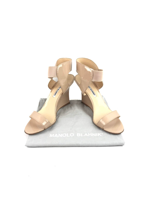 Beige Patent Leather Ankle-Strap Wedge Sandals