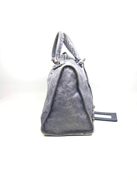 Lavender Crinkled Lambskin Large City Bag W/ BHW