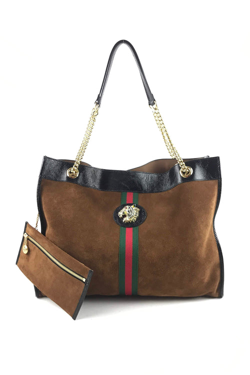 Brown Suede W/ Patent Leather Trim & Web Detail Large Rajah Tote W/ GHW