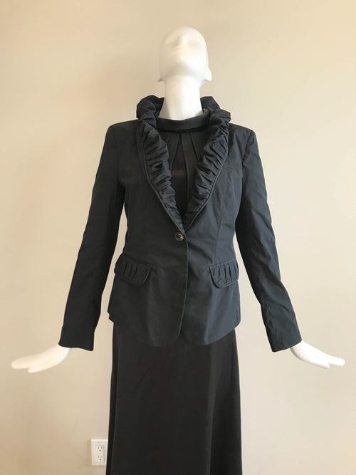 London Black Nylon Ruched Collar Jacket