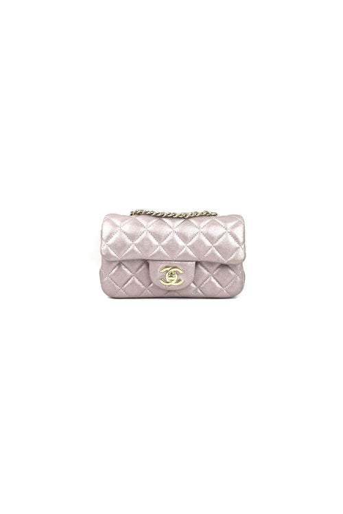 Metallic Champagne Pink Calfskin Rectangular Extra-Mini Flap Bag (Fits iPhone+) W/ GHW