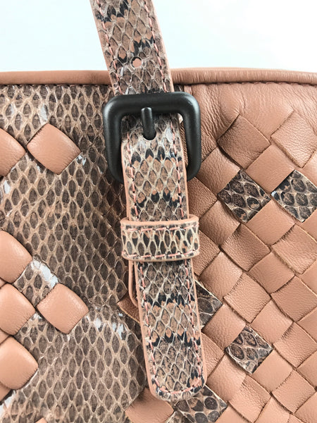 Blush Pink Intrecciato Woven Nappa/Snakeskin Leather Cesta Tote