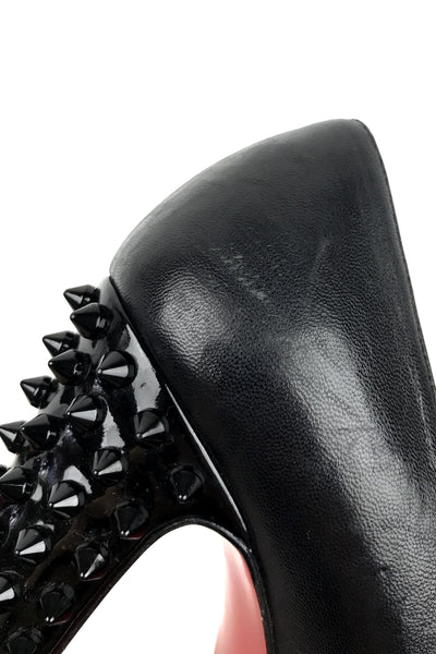 Black Leather Taclou Pumps 140 w/ Spiked Heels - Haute Classics