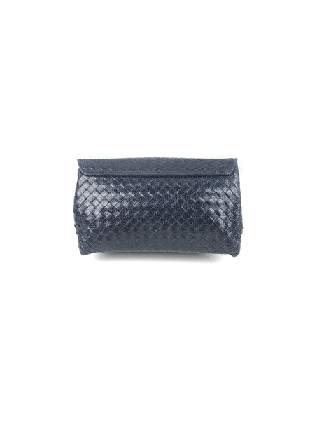 Navy Ayers Intrecciato Leather Karung Clutch W/RHW