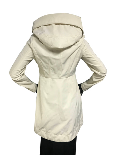 Cream Cotton/Polyester Hooded Long Audrey Raincoat W/SHW