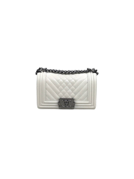 Off White Lambskin Quilted Small Boy Bag W/SHW