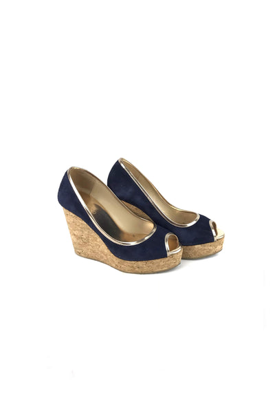 Navy Suede Cork Wedges