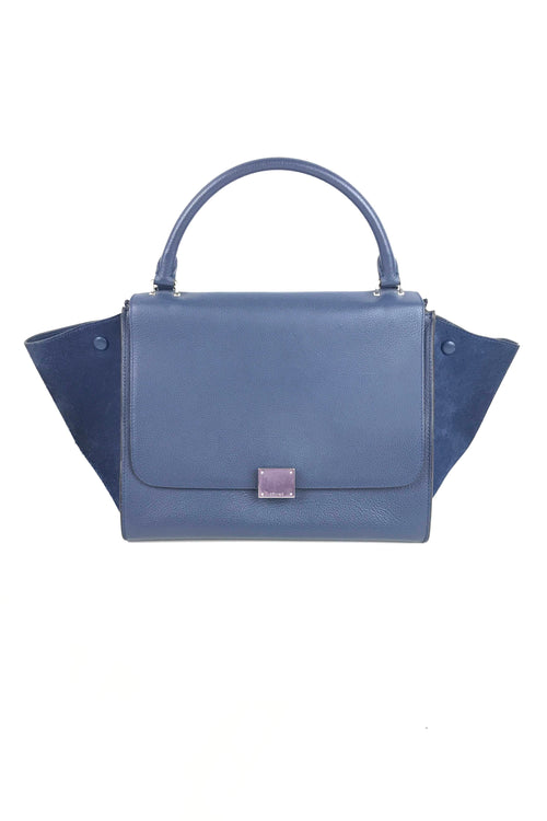 Navy Suede & Grained Leather Medium Trapeze Bag
