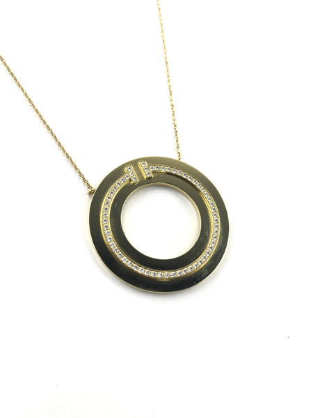 18K Yellow Gold and Diamond Two Circle Pendant Necklace