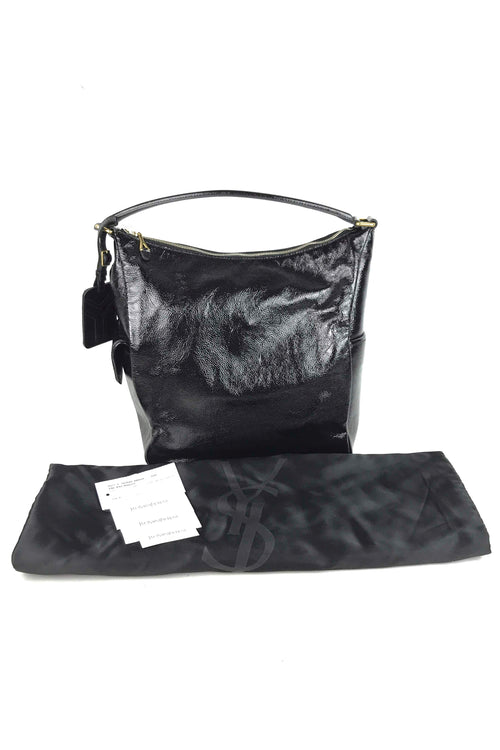 Paris Black Patent Leather Multy Medium Hobo Bag W/ GHW