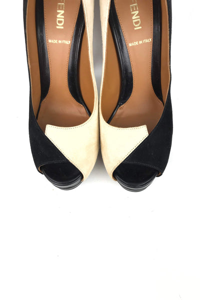 Beige/Black Suede Open Toe Pumps - Haute Classics
