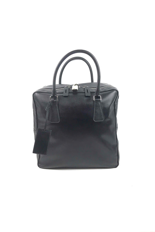 Black Saffiano Leather Travel Briefcase Bag W/ SHW