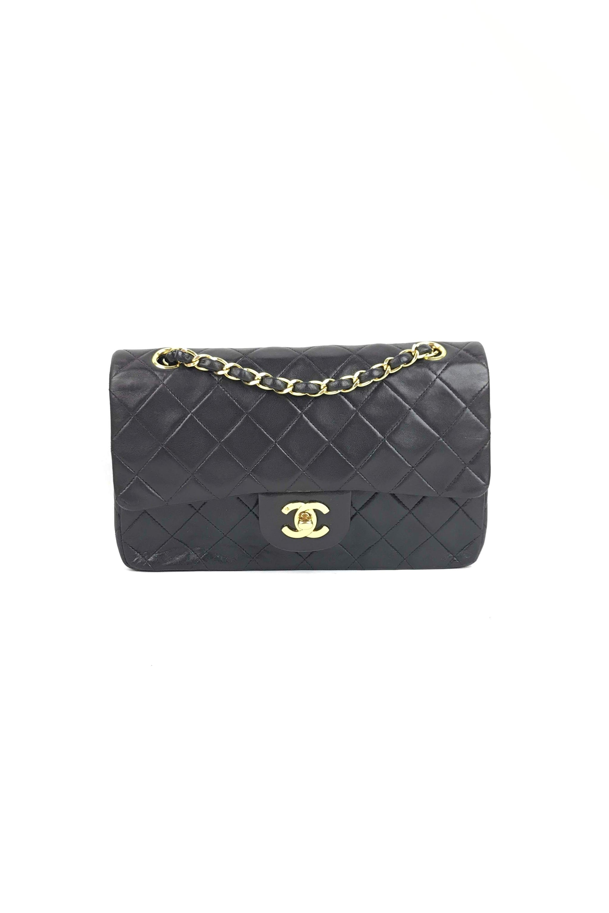 ef7e3cbe33ad Vintage Black Quilted Lambskin Small Double Flap Bag W/ 24K GHW – Haute  Classics