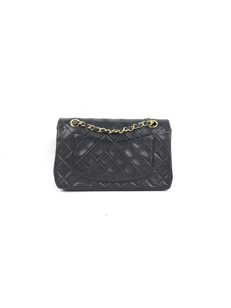 Vintage Black Quilted Lambskin Small Double Flap Bag W/ 24K GHW