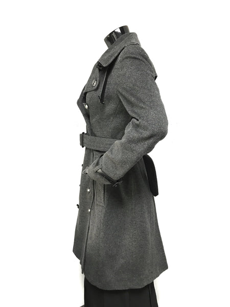 Grey Virgin Wool/Cashmere Double Breasted W/Black Leather Accents Trench Coat
