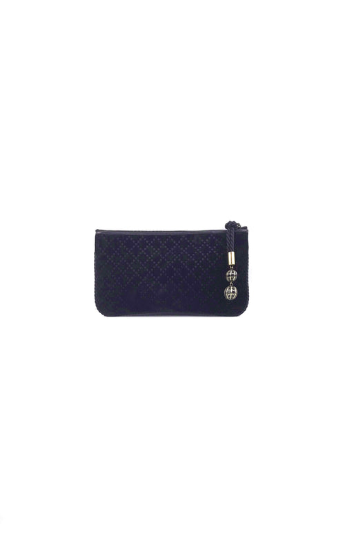 Black Velvet Clutch W/ Ball Detail