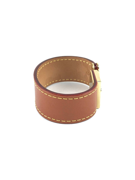 Camel Smooth Cowhide Leather W/GHW Clasp Bracelet