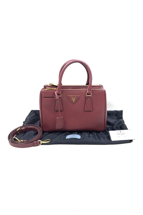 Bordeaux Saffiano Mini Double Lux Tote
