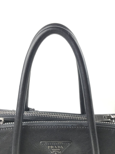 Black Glossy Grained Leather Twin Pocket Double Handle Tote W/SHW