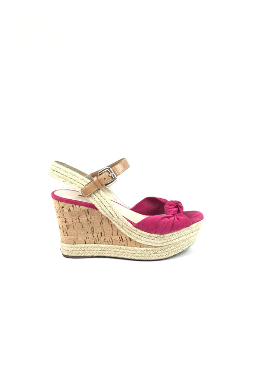 Fuschia Wedge & Rope Sandals