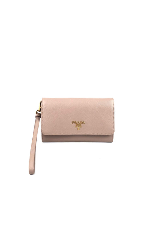 Blush Saffiano Leather Zippy Wallet Wristlet W/ GHW