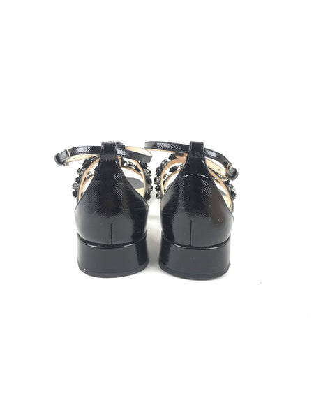 Nero Saffiano Vernice Leather St Saff Flat Sandals