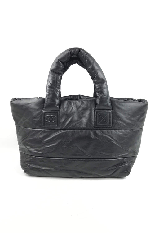 Black Lambskin Coco Cocoon Reversible Tote Bag