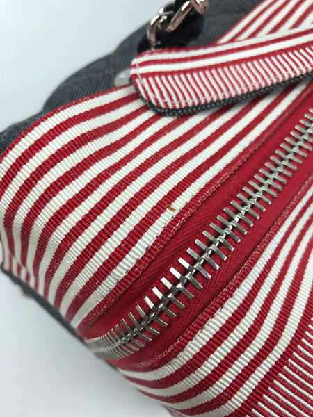 Navy Denim 2010 Cruise Collection Marine Tote W/ White & Red Stripes