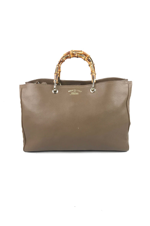 Brown Pebbled Leather Bamboo Handle Large Shopping Tote