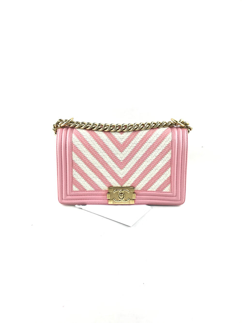 Limited Edition Chevron Woven White/Pink Fabric New Medium Boy Bag W/GHW