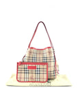 Haymarket Coated Canvas/Coral Red Patent Leather Accent Trim Small Shopping Tote W/GHW - ON LAYAWAY