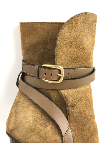 Light Brown Suede Ankle Boots W/ GHW