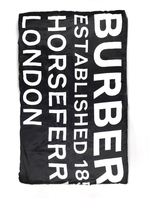 Black Horseferry Print 100% Silk Puffer Scarf