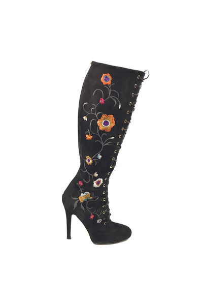 Dark Brown Floral Embellishment Tie Up Knee High Boots
